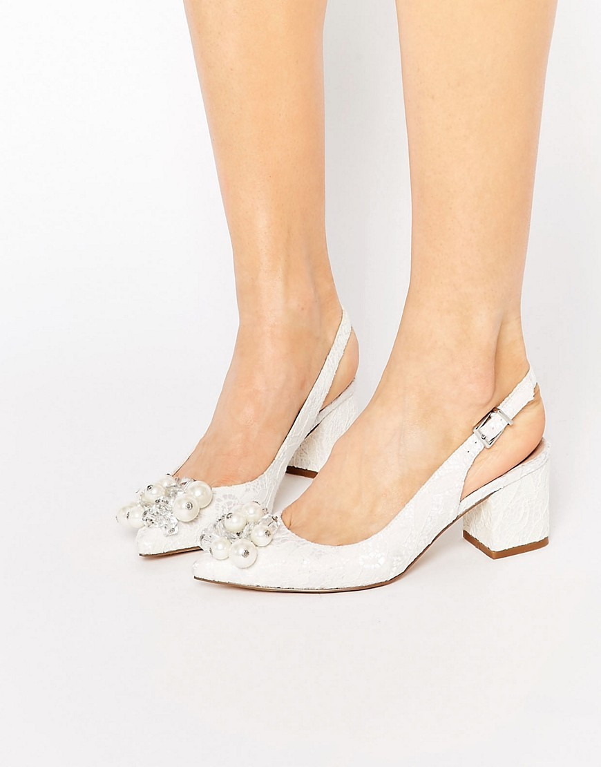 Shimmer Embellished Pointed Heels White Lace - predominant colour: white; occasions: evening; material: animal skin; heel height: mid; embellishment: pearls; heel: block; toe: pointed toe; style: slingbacks; finish: plain; pattern: plain; season: s/s 2016; wardrobe: event