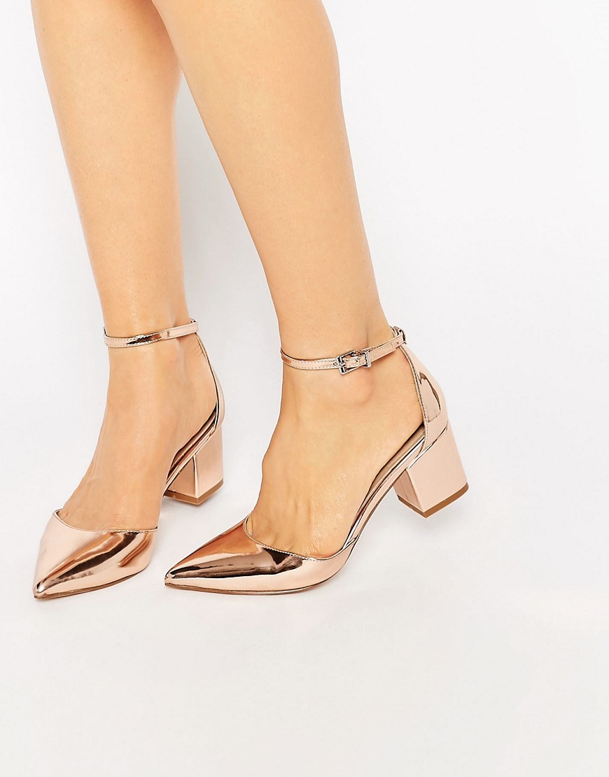 Space Pointed Heels Nude Metallic - predominant colour: bronze; occasions: evening; material: faux leather; heel height: mid; ankle detail: ankle strap; heel: block; toe: pointed toe; style: courts; finish: metallic; pattern: plain; season: s/s 2016; wardrobe: event