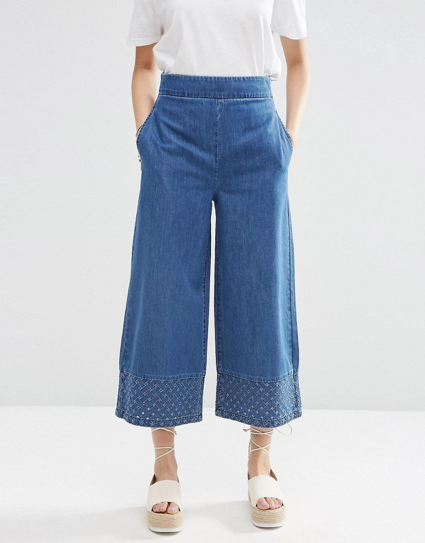Denim Co Ord Wide Leg Cutwork Trouser Midwash Blue - pattern: plain; waist: high rise; predominant colour: denim; occasions: casual; length: calf length; fibres: cotton - 100%; texture group: denim; fit: wide leg; pattern type: fabric; style: standard; season: s/s 2016; wardrobe: highlight