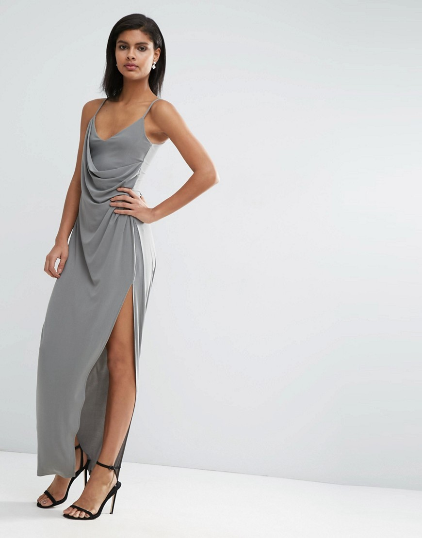 Crepe Wrap Maxi Slip Dress Khaki - neckline: low v-neck; sleeve style: spaghetti straps; pattern: plain; length: ankle length; waist detail: twist front waist detail/nipped in at waist on one side/soft pleats/draping/ruching/gathering waist detail; predominant colour: mid grey; occasions: evening, occasion; fit: body skimming; style: slip dress; fibres: polyester/polyamide - mix; sleeve length: sleeveless; texture group: silky - light; pattern type: fabric; season: s/s 2016; trends: silky slips
