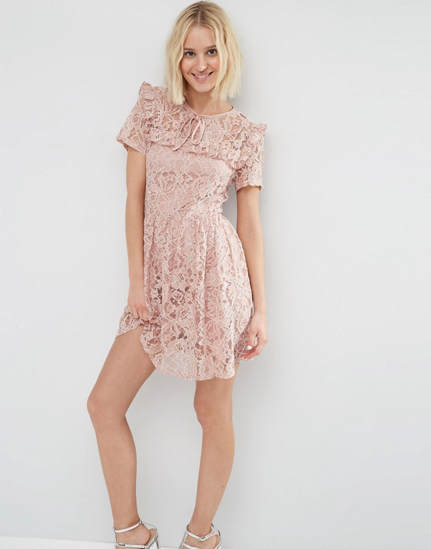Lace Ruffle Yoke Skater Dress Blush - predominant colour: blush; occasions: evening; length: just above the knee; fit: fitted at waist & bust; style: fit & flare; fibres: nylon - mix; neckline: crew; sleeve length: short sleeve; sleeve style: standard; texture group: lace; pattern type: fabric; pattern size: standard; pattern: patterned/print; season: s/s 2016