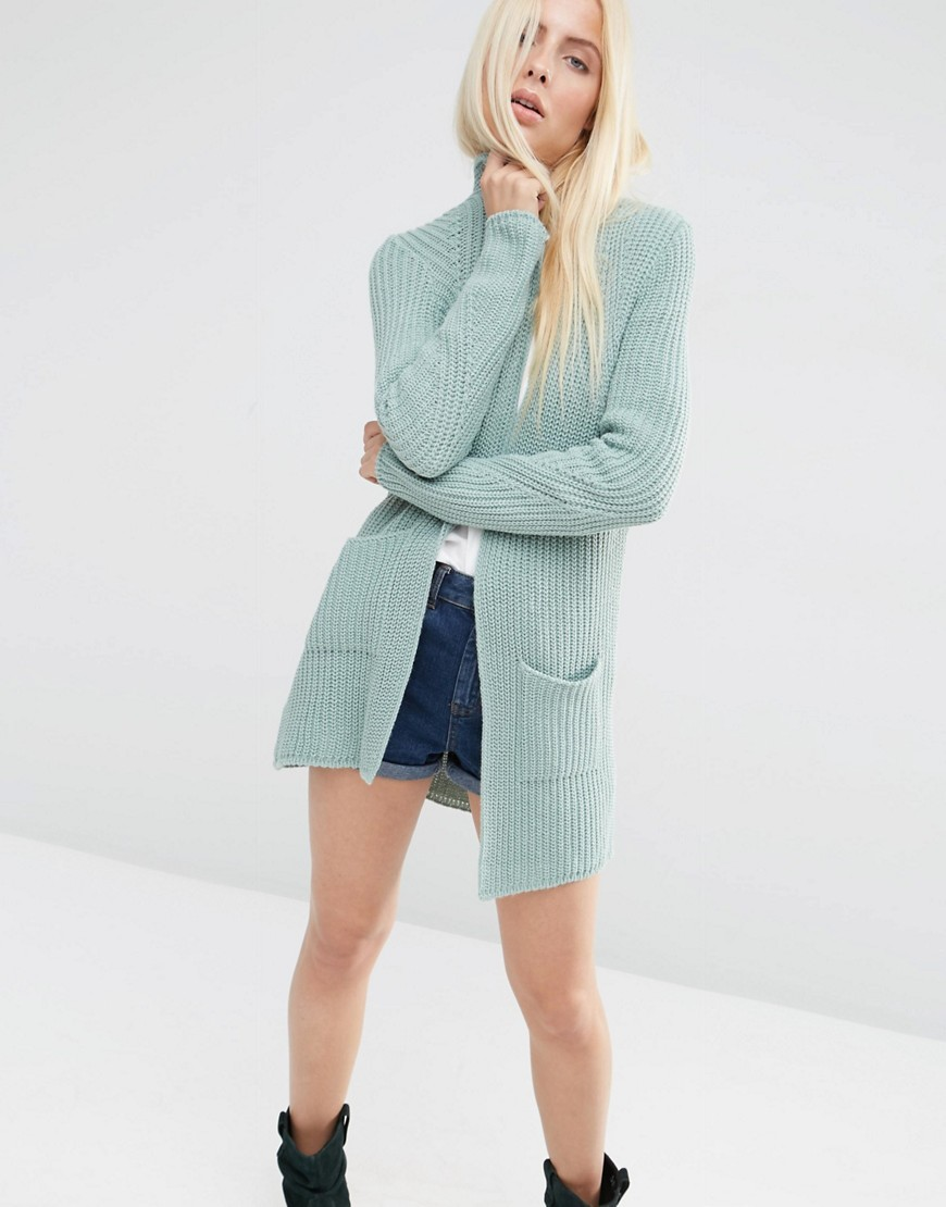 Ultimate Chunky Cardigan Mint - pattern: plain; neckline: collarless open; style: open front; predominant colour: pale blue; occasions: casual; fibres: acrylic - 100%; fit: slim fit; length: mid thigh; sleeve length: long sleeve; sleeve style: standard; texture group: knits/crochet; pattern type: knitted - fine stitch; season: s/s 2016; wardrobe: highlight