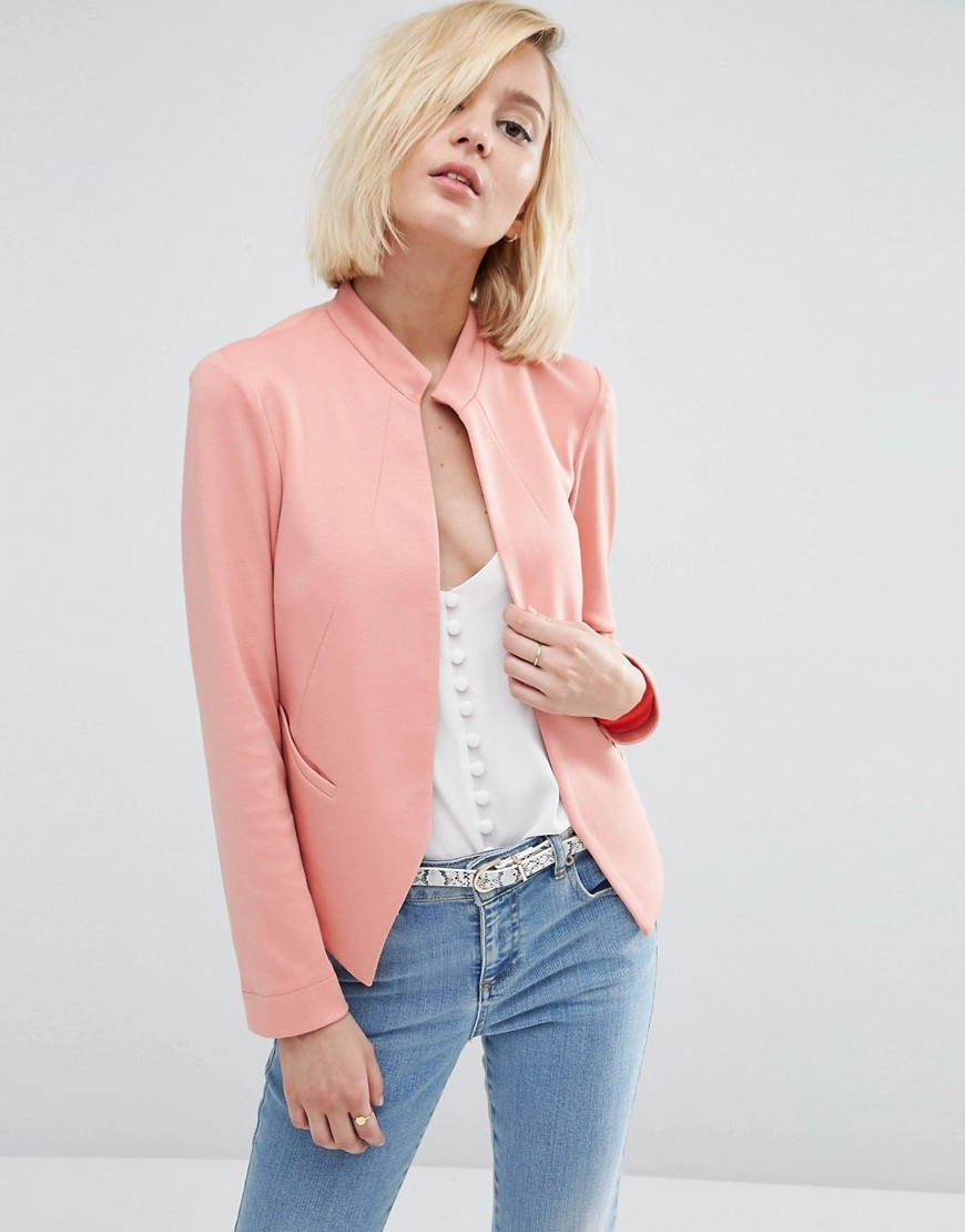Edge To Edge Ponte Blazer With Pocket Dusky Blush - pattern: plain; style: single breasted blazer; collar: round collar/collarless; predominant colour: pink; length: standard; fit: tailored/fitted; fibres: polyester/polyamide - stretch; sleeve length: long sleeve; sleeve style: standard; collar break: low/open; pattern type: fabric; texture group: woven light midweight; occasions: creative work; season: s/s 2016; wardrobe: investment