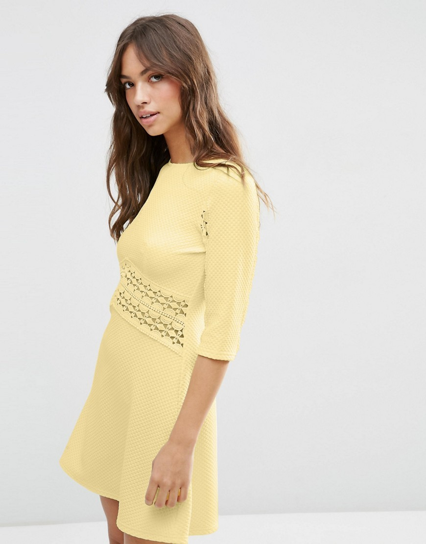 Lace Insert Skater Dress Soft Yellow - length: mid thigh; pattern: plain; style: prom dress; predominant colour: primrose yellow; occasions: evening; fit: fitted at waist & bust; fibres: polyester/polyamide - stretch; neckline: crew; sleeve length: half sleeve; sleeve style: standard; pattern type: fabric; texture group: jersey - stretchy/drapey; season: s/s 2016; wardrobe: event