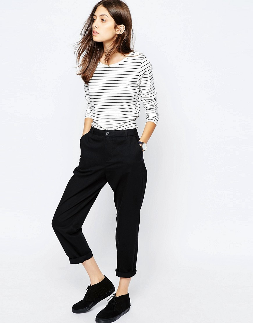 Chino Trousers Black - pattern: plain; waist: mid/regular rise; predominant colour: black; occasions: casual, creative work; length: calf length; style: chino; fibres: cotton - 100%; texture group: cotton feel fabrics; fit: slim leg; pattern type: fabric; season: s/s 2016