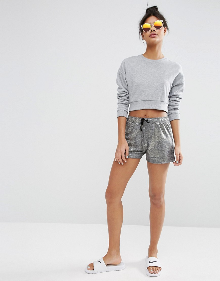 Metallic Festival Shorts Silver - pattern: plain; waist: high rise; waist detail: belted waist/tie at waist/drawstring; predominant colour: silver; occasions: casual; fibres: polyester/polyamide - stretch; pattern type: fabric; texture group: jersey - stretchy/drapey; season: s/s 2016; style: shorts; length: short shorts; fit: slim leg; wardrobe: highlight