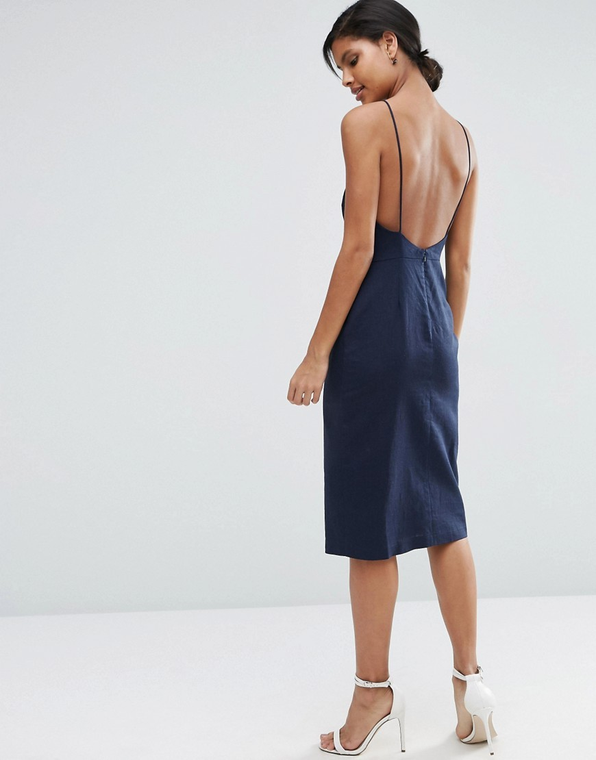 Scoop Back Midi Sundress Navy - length: below the knee; sleeve style: spaghetti straps; pattern: plain; style: sundress; predominant colour: navy; occasions: evening; fit: body skimming; neckline: scoop; fibres: linen - mix; sleeve length: sleeveless; texture group: denim; pattern type: fabric; season: s/s 2016; wardrobe: event