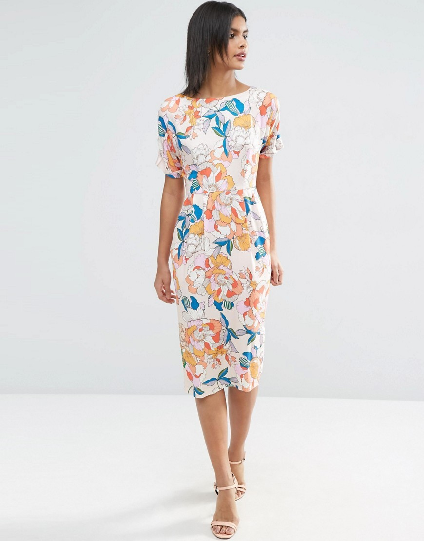 Wiggle Dress In Bright Floral Print Multi - length: calf length; fit: tight; style: bodycon; predominant colour: white; secondary colour: coral; occasions: evening; fibres: viscose/rayon - 100%; neckline: crew; sleeve length: short sleeve; sleeve style: standard; texture group: jersey - clingy; pattern type: fabric; pattern: florals; multicoloured: multicoloured; season: s/s 2016; wardrobe: event