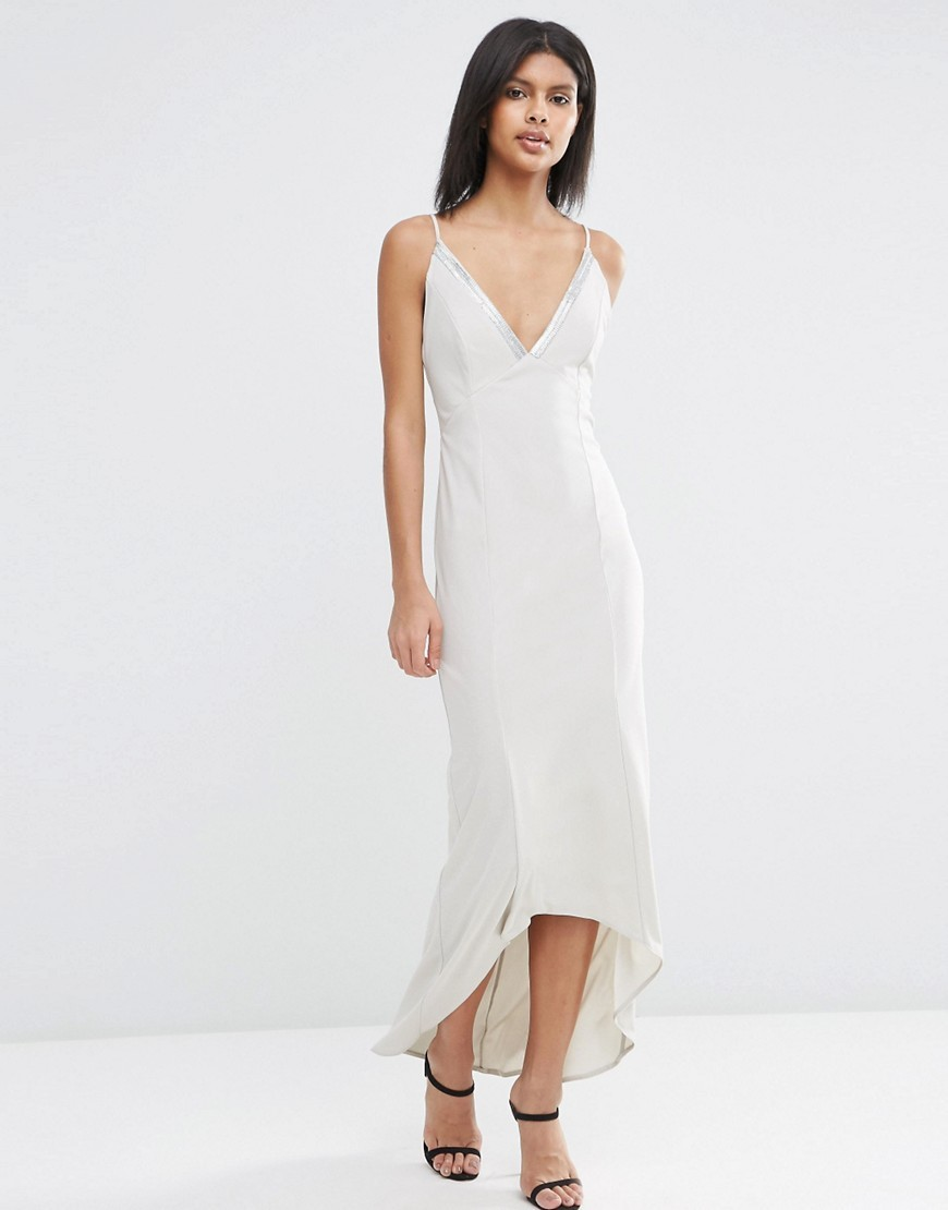 Cami Strap Embellished Trim Maxi Dress Silver - neckline: v-neck; sleeve style: spaghetti straps; pattern: plain; length: ankle length; predominant colour: silver; occasions: evening, occasion; fit: body skimming; style: slip dress; fibres: polyester/polyamide - 100%; sleeve length: sleeveless; texture group: silky - light; pattern type: fabric; embellishment: beading; season: s/s 2016; trends: silky slips; wardrobe: event