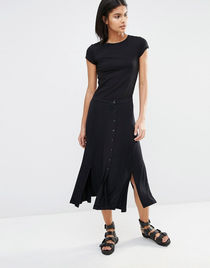 Button Down Midi Skirt Black - length: calf length; pattern: plain; style: pencil; fit: body skimming; waist: mid/regular rise; predominant colour: black; occasions: casual; fibres: viscose/rayon - stretch; pattern type: fabric; texture group: jersey - stretchy/drapey; season: s/s 2016; wardrobe: basic