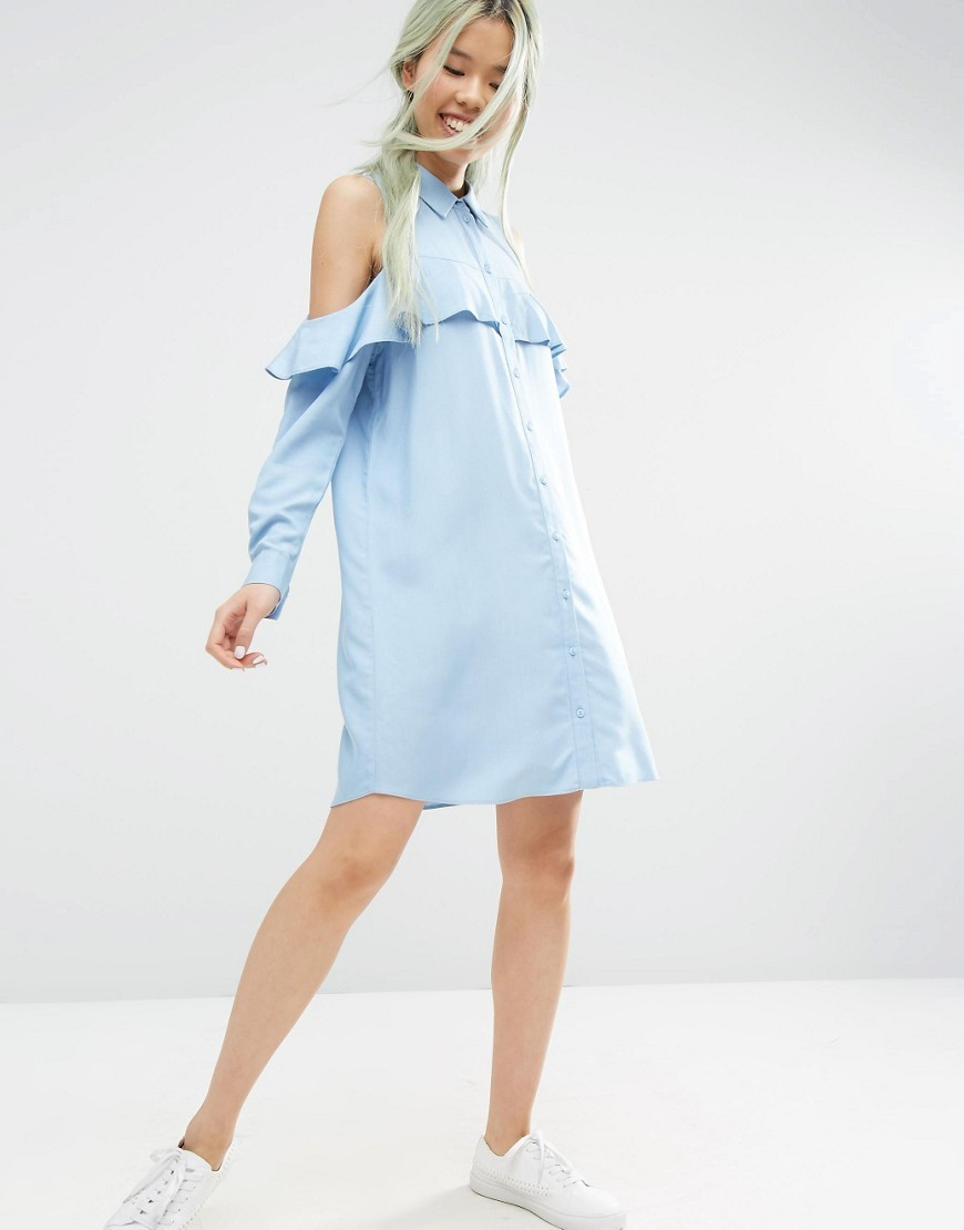 Cold Shoulder Frill Sleeve Cotton Shirt Dress Blue - style: shirt; neckline: shirt collar/peter pan/zip with opening; fit: loose; pattern: plain; predominant colour: pale blue; occasions: casual; length: just above the knee; fibres: cotton - 100%; shoulder detail: cut out shoulder; sleeve length: long sleeve; sleeve style: standard; texture group: cotton feel fabrics; bust detail: bulky details at bust; pattern type: fabric; season: s/s 2016; wardrobe: highlight