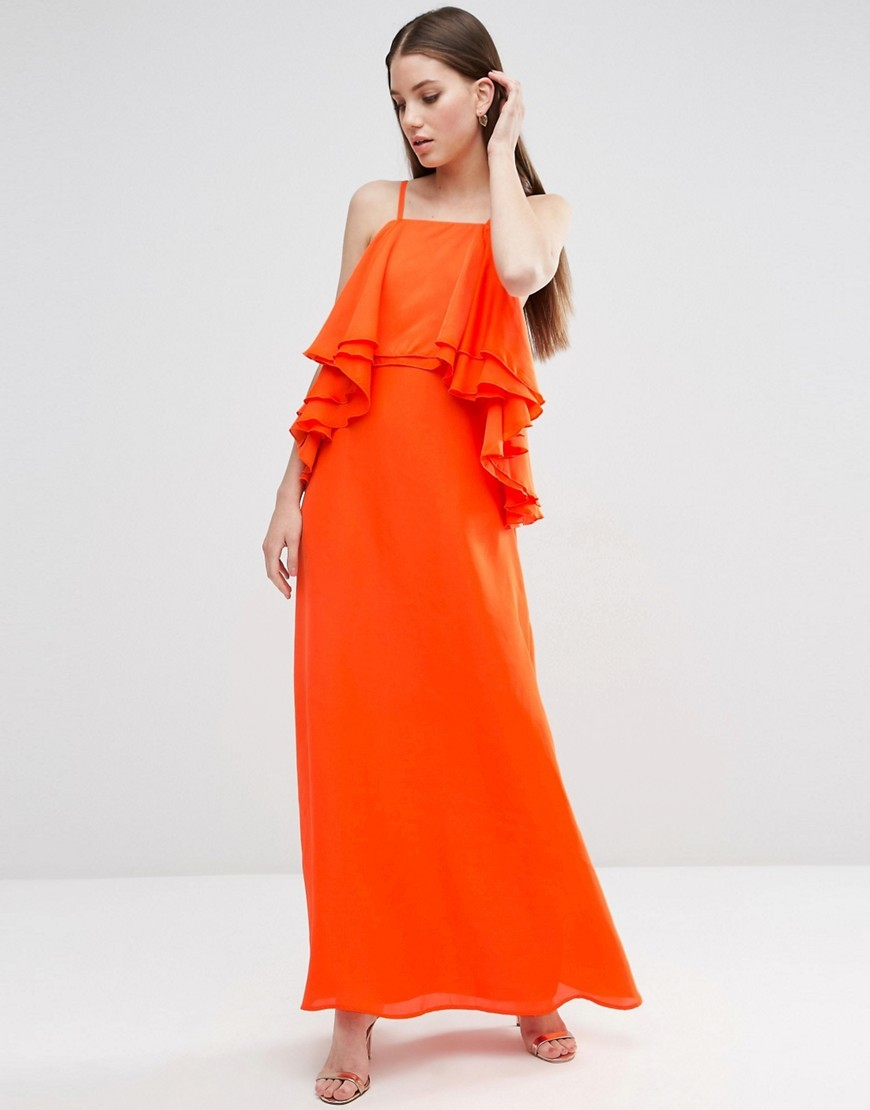 Ruffle Waterfall Soft Maxi Dress Hot Coral - sleeve style: spaghetti straps; pattern: plain; style: maxi dress; bust detail: ruching/gathering/draping/layers/pintuck pleats at bust; predominant colour: bright orange; occasions: evening; length: floor length; fit: body skimming; fibres: polyester/polyamide - 100%; sleeve length: sleeveless; texture group: sheer fabrics/chiffon/organza etc.; neckline: medium square neck; pattern type: fabric; season: s/s 2016