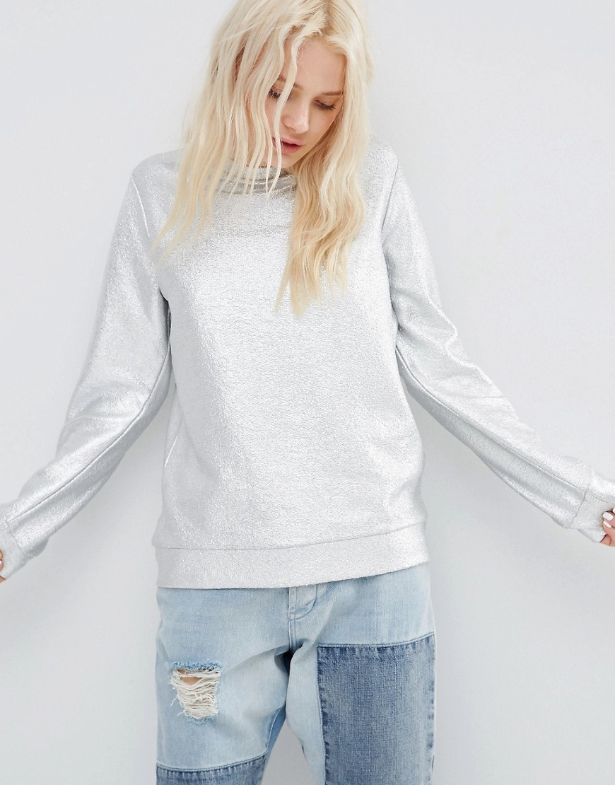 Sweatshirt In All Over Foil Silver - pattern: plain; style: sweat top; predominant colour: light grey; occasions: casual; length: standard; fibres: cotton - mix; fit: body skimming; neckline: crew; sleeve length: long sleeve; sleeve style: standard; pattern type: fabric; texture group: jersey - stretchy/drapey; season: s/s 2016; wardrobe: basic