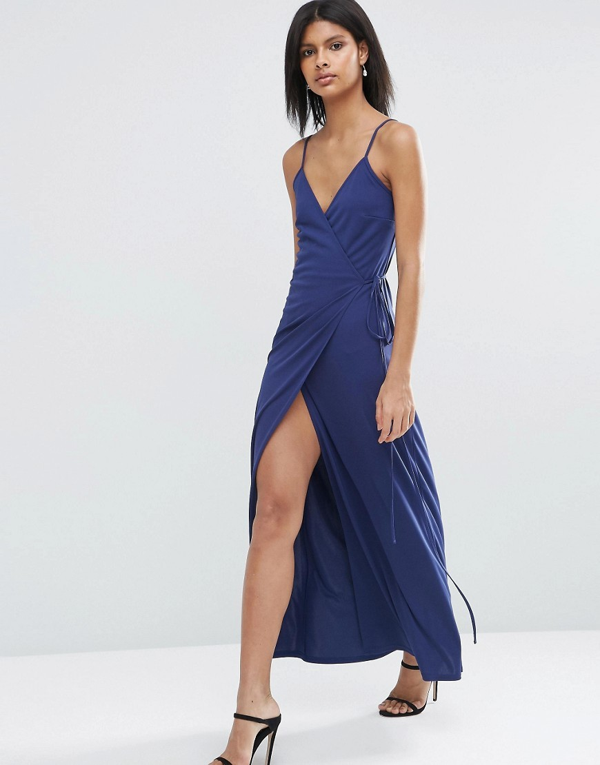 Wrap Cami Maxi Dress Navy - neckline: low v-neck; sleeve style: spaghetti straps; pattern: plain; style: maxi dress; length: ankle length; predominant colour: royal blue; occasions: evening; fit: body skimming; fibres: polyester/polyamide - 100%; hip detail: slits at hip; sleeve length: sleeveless; pattern type: fabric; texture group: jersey - stretchy/drapey; season: s/s 2016; wardrobe: event