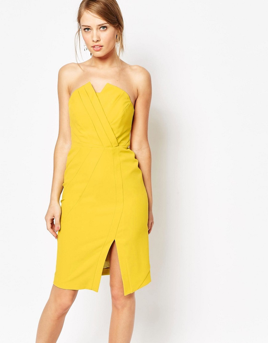 Structured Bandeau Dress Yellow - style: shift; neckline: low v-neck; fit: tailored/fitted; pattern: plain; sleeve style: sleeveless; predominant colour: yellow; length: on the knee; fibres: polyester/polyamide - stretch; occasions: occasion; sleeve length: sleeveless; pattern type: fabric; texture group: woven light midweight; season: s/s 2016; wardrobe: event