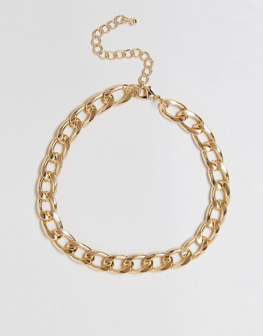 Curb Chain Choker Necklace Gold - predominant colour: gold; occasions: casual; style: choker/collar/torque; length: choker; size: large/oversized; material: chain/metal; finish: metallic; season: s/s 2016; wardrobe: highlight