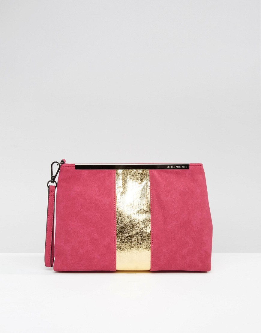 Metallic Detail Clutch Bright Pink/Gold - predominant colour: pink; occasions: evening; type of pattern: standard; style: clutch; length: hand carry; size: standard; material: suede; pattern: plain; finish: plain; season: s/s 2016