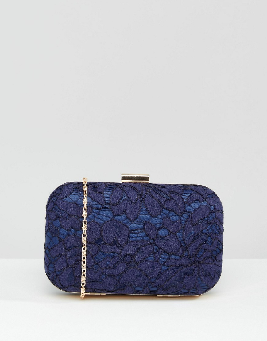 Lace Clutch Bag Navy - predominant colour: navy; secondary colour: gold; occasions: evening, occasion; type of pattern: standard; style: clutch; length: hand carry; size: standard; material: fabric; pattern: plain; finish: plain; embellishment: lace; season: s/s 2016; wardrobe: event