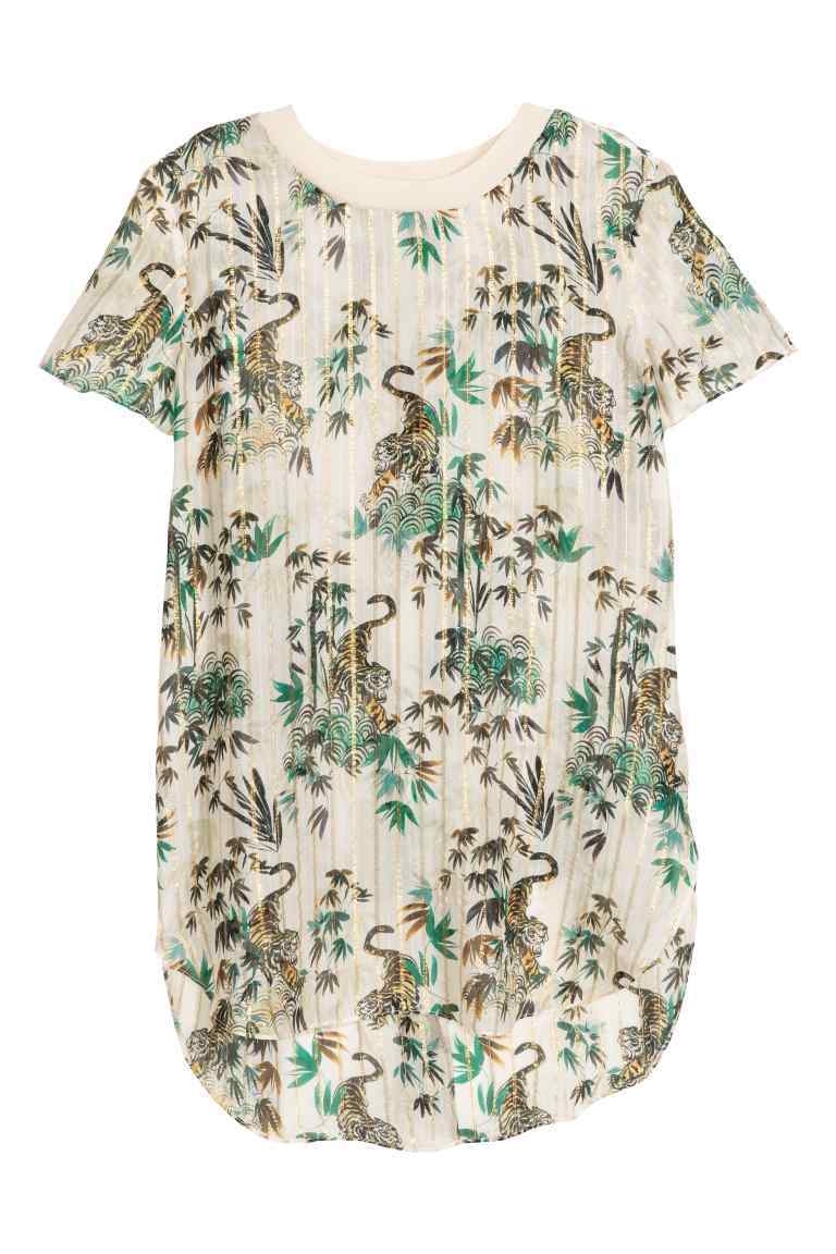 Patterned Silk Blouse - length: below the bottom; style: t-shirt; predominant colour: ivory/cream; secondary colour: emerald green; occasions: casual, creative work; fibres: silk - 100%; fit: straight cut; neckline: crew; sleeve length: short sleeve; sleeve style: standard; pattern type: fabric; pattern size: standard; pattern: patterned/print; texture group: woven light midweight; multicoloured: multicoloured; season: s/s 2016; wardrobe: highlight