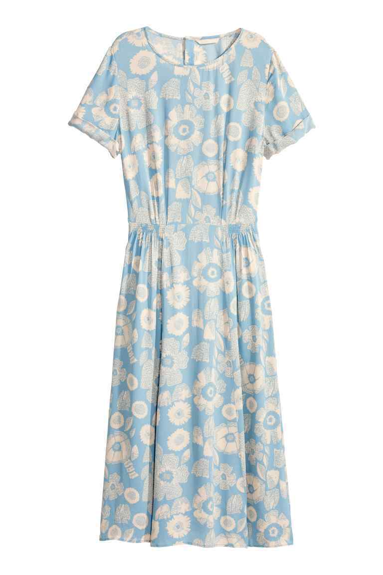 Patterned Dress - style: shift; length: below the knee; neckline: round neck; fit: fitted at waist; waist detail: elasticated waist; secondary colour: ivory/cream; predominant colour: pale blue; fibres: viscose/rayon - 100%; sleeve length: short sleeve; sleeve style: standard; pattern type: fabric; pattern: patterned/print; texture group: other - light to midweight; occasions: creative work; season: s/s 2016; wardrobe: highlight