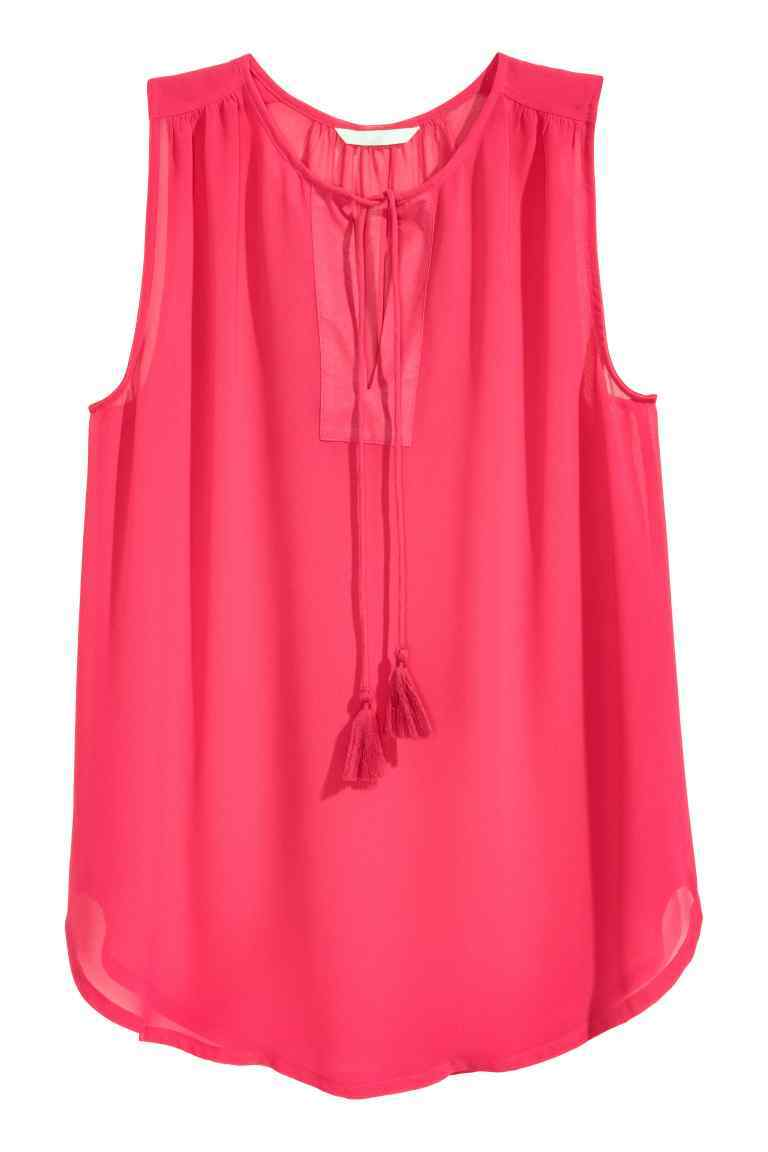 Sleeveless Chiffon Blouse - neckline: round neck; pattern: plain; sleeve style: sleeveless; length: below the bottom; style: blouse; predominant colour: magenta; occasions: casual; fibres: polyester/polyamide - 100%; fit: body skimming; sleeve length: sleeveless; texture group: sheer fabrics/chiffon/organza etc.; pattern type: fabric; season: s/s 2016; wardrobe: highlight