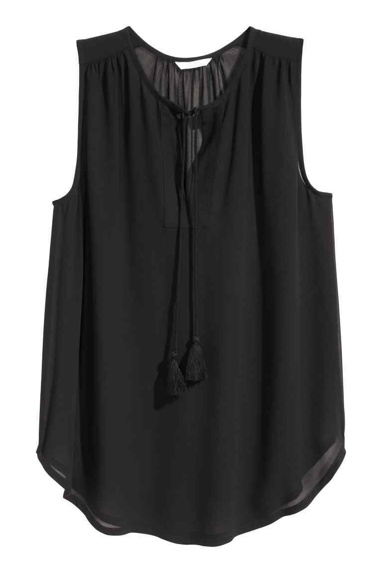 Sleeveless Chiffon Blouse - neckline: shirt collar/peter pan/zip with opening; pattern: plain; sleeve style: sleeveless; length: below the bottom; style: blouse; predominant colour: black; occasions: casual, creative work; fibres: polyester/polyamide - 100%; fit: body skimming; sleeve length: sleeveless; texture group: sheer fabrics/chiffon/organza etc.; pattern type: fabric; season: s/s 2016; wardrobe: basic