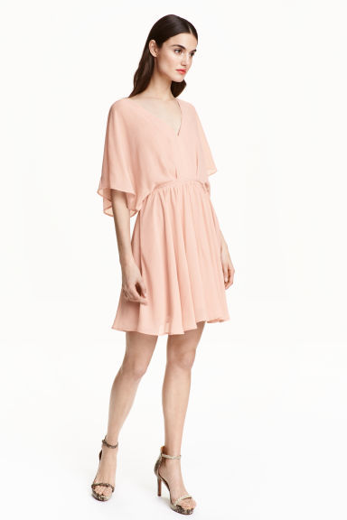 Chiffon Dress - neckline: v-neck; sleeve style: angel/waterfall; pattern: plain; predominant colour: blush; length: just above the knee; fit: fitted at waist & bust; style: fit & flare; fibres: polyester/polyamide - 100%; occasions: occasion; sleeve length: half sleeve; texture group: sheer fabrics/chiffon/organza etc.; pattern type: fabric; season: s/s 2016; wardrobe: event