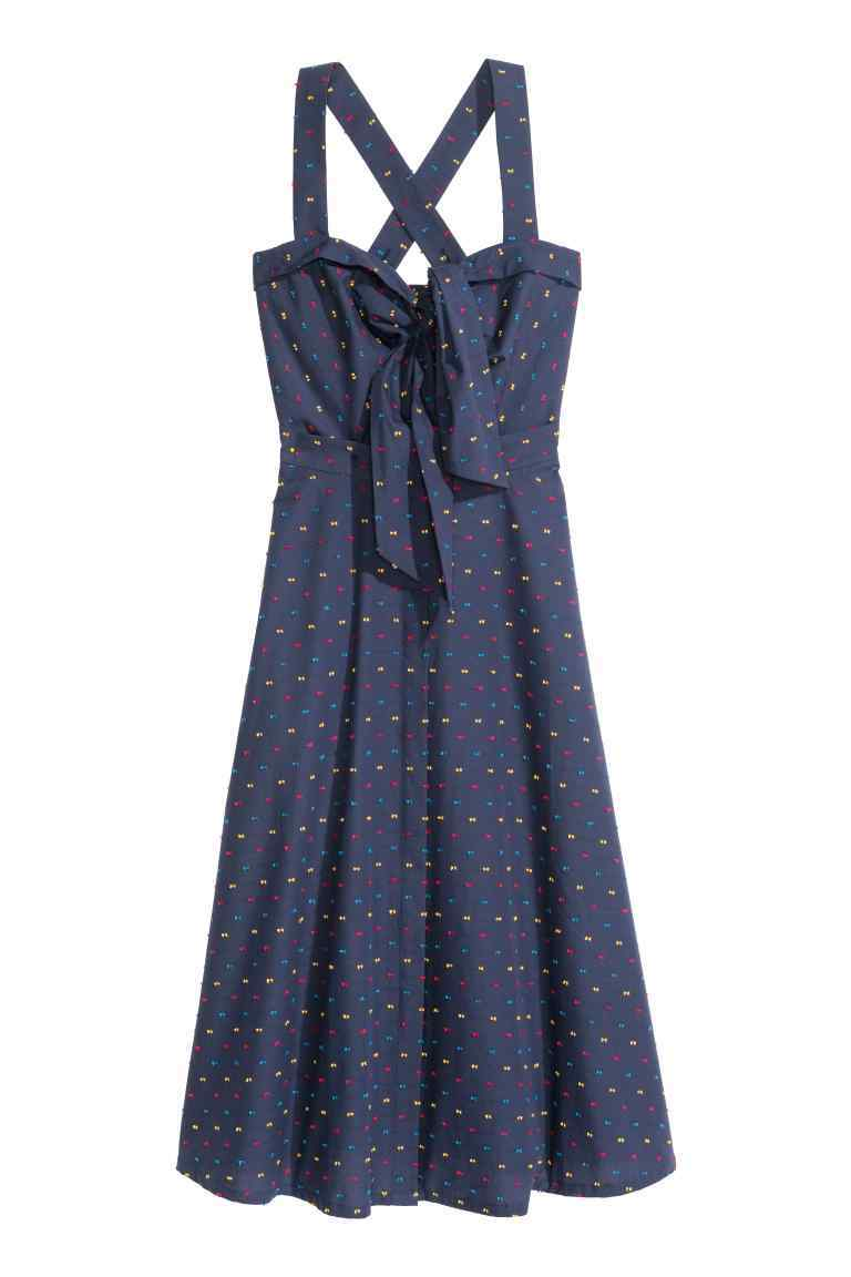 Cotton Dress - sleeve style: standard vest straps/shoulder straps; waist detail: fitted waist; neckline: sweetheart; secondary colour: white; predominant colour: navy; occasions: casual, holiday; length: on the knee; fit: fitted at waist & bust; style: fit & flare; fibres: cotton - 100%; hip detail: subtle/flattering hip detail; back detail: crossover; sleeve length: sleeveless; texture group: cotton feel fabrics; pattern type: fabric; pattern size: standard; pattern: patterned/print; season: s/s 2016; wardrobe: highlight