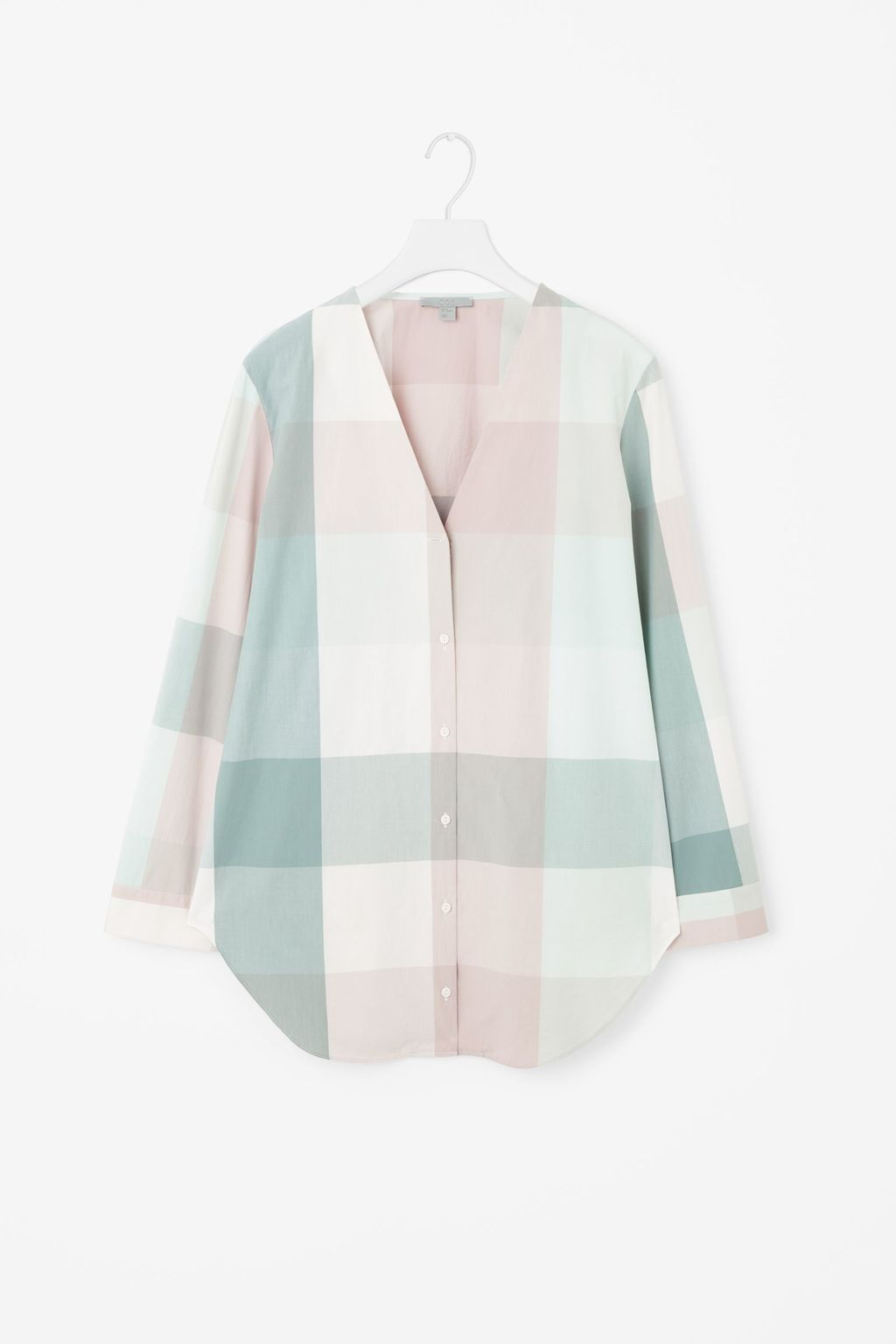 V Neck Checked Shirt - neckline: low v-neck; pattern: checked/gingham; length: below the bottom; style: shirt; predominant colour: white; secondary colour: pistachio; occasions: casual, creative work; fibres: cotton - 100%; fit: loose; sleeve length: long sleeve; sleeve style: standard; texture group: cotton feel fabrics; pattern type: fabric; pattern size: standard; season: s/s 2016; wardrobe: highlight