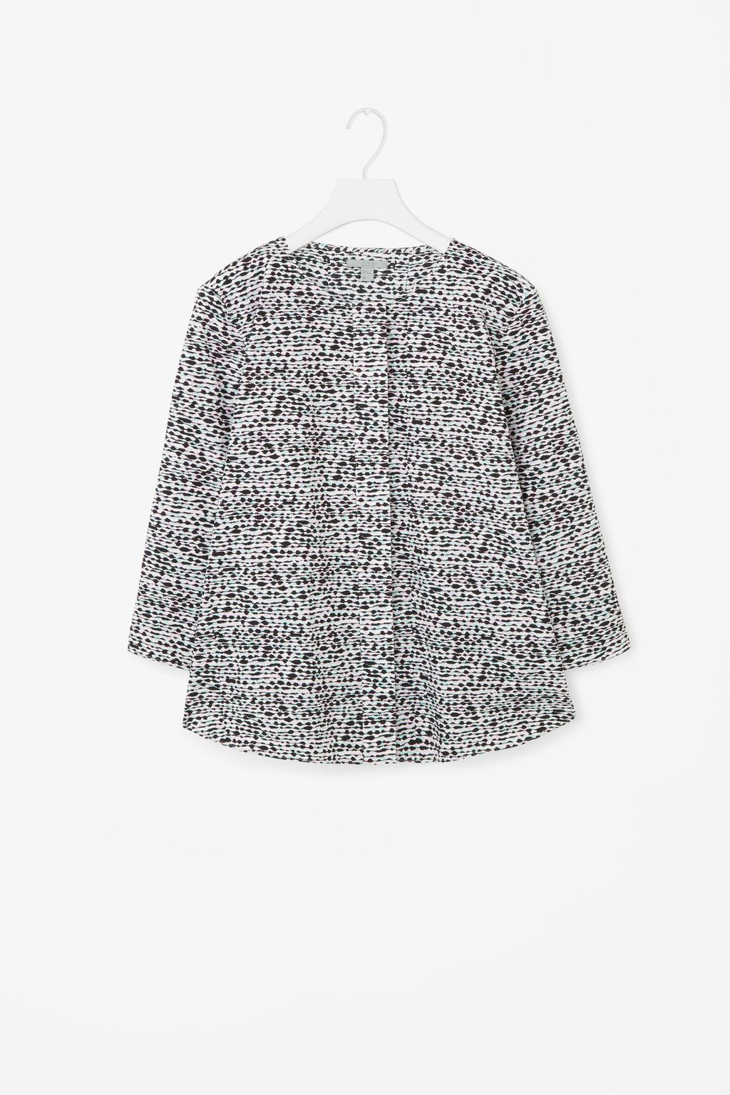 Multi Colour Print Top - neckline: round neck; secondary colour: white; predominant colour: black; occasions: casual; length: standard; style: top; fibres: cotton - 100%; fit: body skimming; sleeve length: 3/4 length; sleeve style: standard; trends: monochrome; texture group: cotton feel fabrics; pattern type: fabric; pattern size: standard; pattern: patterned/print; season: s/s 2016; wardrobe: highlight