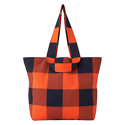 Cedar Shopper Bag, Orange - predominant colour: bright orange; secondary colour: black; occasions: casual, creative work; type of pattern: light; style: shoulder; length: shoulder (tucks under arm); size: standard; material: fabric; pattern: checked/gingham; finish: plain; season: s/s 2016; wardrobe: highlight