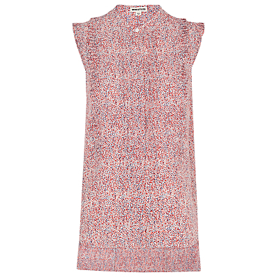 Double Dot Shirt, Orange - sleeve style: sleeveless; neckline: high neck; predominant colour: pink; secondary colour: diva blue; occasions: casual; length: standard; style: top; fibres: polyester/polyamide - 100%; fit: body skimming; sleeve length: sleeveless; pattern type: fabric; pattern size: standard; pattern: patterned/print; texture group: other - light to midweight; season: s/s 2016