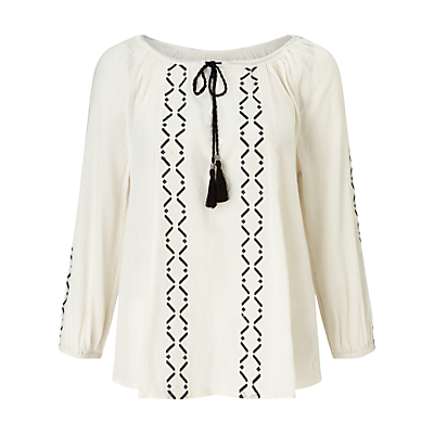 Lavinia Tunic Top, White/Black - neckline: pussy bow; style: blouse; predominant colour: ivory/cream; secondary colour: black; occasions: casual, holiday; length: standard; fibres: cotton - 100%; fit: straight cut; sleeve length: 3/4 length; sleeve style: standard; texture group: cotton feel fabrics; pattern type: fabric; pattern: patterned/print; embellishment: embroidered; season: s/s 2016; wardrobe: highlight