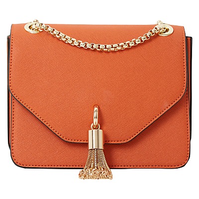 Elina Clutch Bag - predominant colour: coral; occasions: evening; type of pattern: standard; style: clutch; length: hand carry; size: small; material: fur; embellishment: tassels; pattern: plain; finish: plain; season: s/s 2016; wardrobe: event