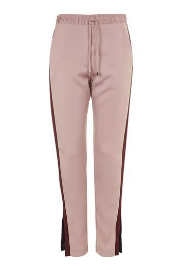 Satin Cuffless Jogger - length: standard; pattern: striped; waist detail: belted waist/tie at waist/drawstring; waist: mid/regular rise; predominant colour: pink; secondary colour: burgundy; occasions: casual, creative work; fibres: polyester/polyamide - 100%; fit: slim leg; pattern type: fabric; texture group: other - light to midweight; style: standard; season: s/s 2016; wardrobe: highlight