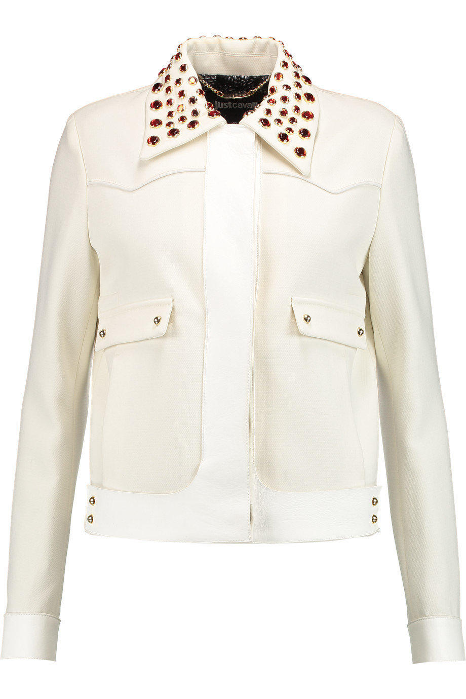 Embellished Suede Trimmed Crepe Jacket Ecru - pattern: plain; bust detail: added detail/embellishment at bust; style: denim; fit: slim fit; predominant colour: ivory/cream; occasions: casual, evening; length: standard; fibres: leather - 100%; collar: shirt collar/peter pan/zip with opening; sleeve length: long sleeve; sleeve style: standard; collar break: high/illusion of break when open; pattern type: fabric; texture group: suede; embellishment: jewels/stone; season: s/s 2016