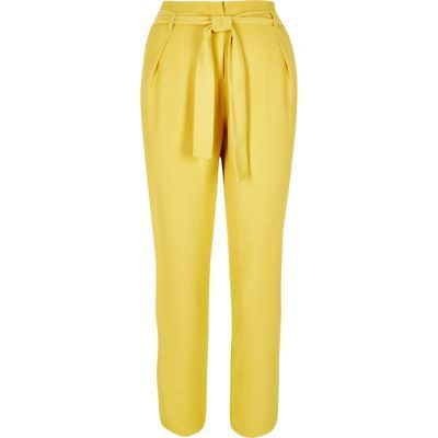 Womens Yellow Soft Tie Tapered Trousers - length: standard; pattern: plain; style: peg leg; waist: high rise; pocket detail: pockets at the sides; waist detail: belted waist/tie at waist/drawstring; predominant colour: yellow; occasions: casual, creative work; fit: tapered; pattern type: fabric; texture group: other - light to midweight; fibres: viscose/rayon - mix; season: s/s 2016; wardrobe: highlight