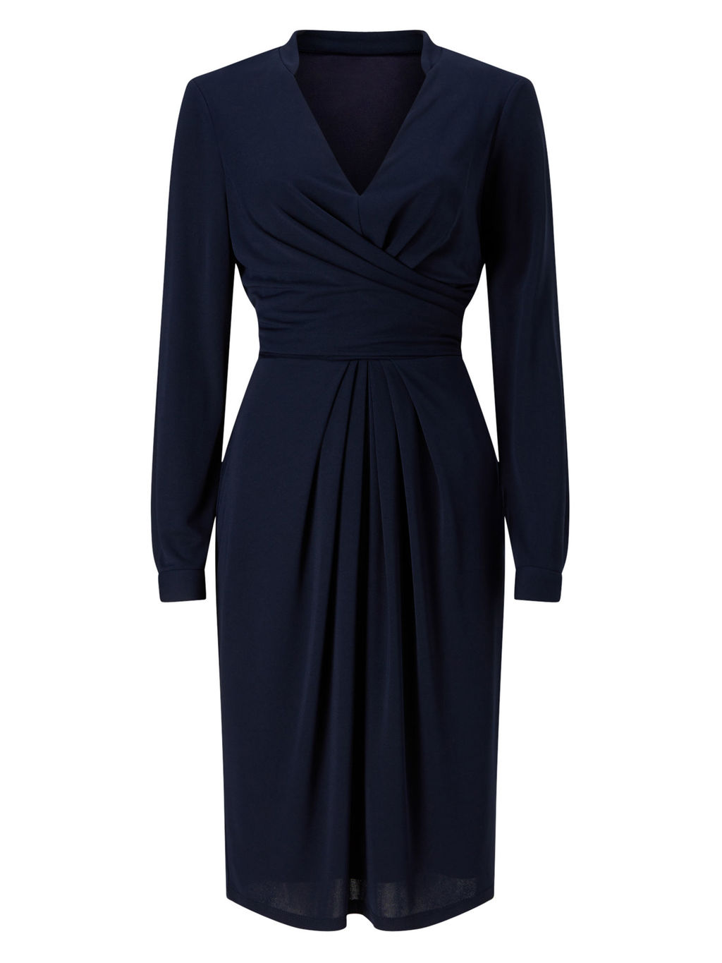 Drape And Pleat Jersey Dress - style: faux wrap/wrap; neckline: v-neck; pattern: plain; predominant colour: navy; occasions: evening; length: on the knee; fit: body skimming; fibres: polyester/polyamide - 100%; sleeve length: long sleeve; sleeve style: standard; pattern type: fabric; texture group: jersey - stretchy/drapey; season: s/s 2016; wardrobe: event