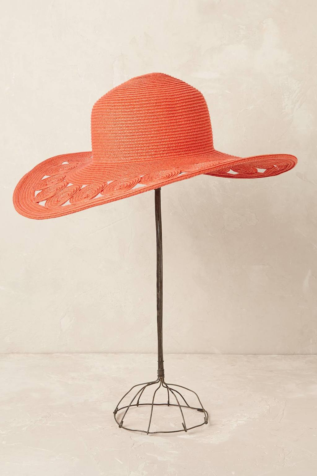 Deja Cutout Floppy Hat - predominant colour: coral; type of pattern: standard; style: sunhat; size: large; material: macrame/raffia/straw; pattern: plain; occasions: holiday; season: s/s 2016; wardrobe: holiday