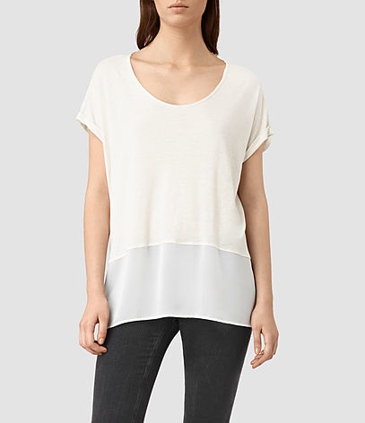 Amie Tee - neckline: round neck; pattern: plain; style: t-shirt; predominant colour: white; occasions: casual; length: standard; fit: loose; sleeve length: short sleeve; sleeve style: standard; pattern type: fabric; texture group: other - light to midweight; fibres: viscose/rayon - mix; season: s/s 2016; wardrobe: basic