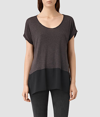 Amie Tee - neckline: round neck; length: below the bottom; style: t-shirt; predominant colour: charcoal; secondary colour: black; occasions: casual; fit: loose; sleeve length: short sleeve; sleeve style: standard; pattern type: fabric; pattern: colourblock; texture group: jersey - stretchy/drapey; fibres: viscose/rayon - mix; multicoloured: multicoloured; season: s/s 2016