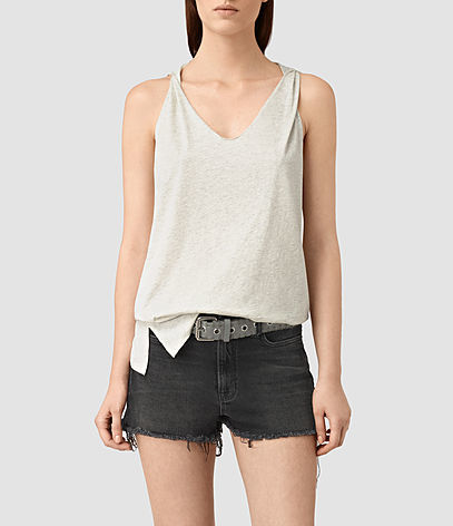 Lena Tank - neckline: v-neck; pattern: plain; sleeve style: sleeveless; style: vest top; predominant colour: stone; occasions: casual; length: standard; fibres: cotton - 100%; fit: body skimming; sleeve length: sleeveless; pattern type: fabric; texture group: jersey - stretchy/drapey; season: s/s 2016; wardrobe: basic