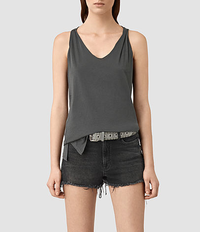 Lena Tank - neckline: v-neck; pattern: plain; sleeve style: sleeveless; style: vest top; predominant colour: charcoal; occasions: casual; length: standard; fibres: cotton - 100%; fit: body skimming; sleeve length: sleeveless; pattern type: fabric; texture group: jersey - stretchy/drapey; season: s/s 2016; wardrobe: basic