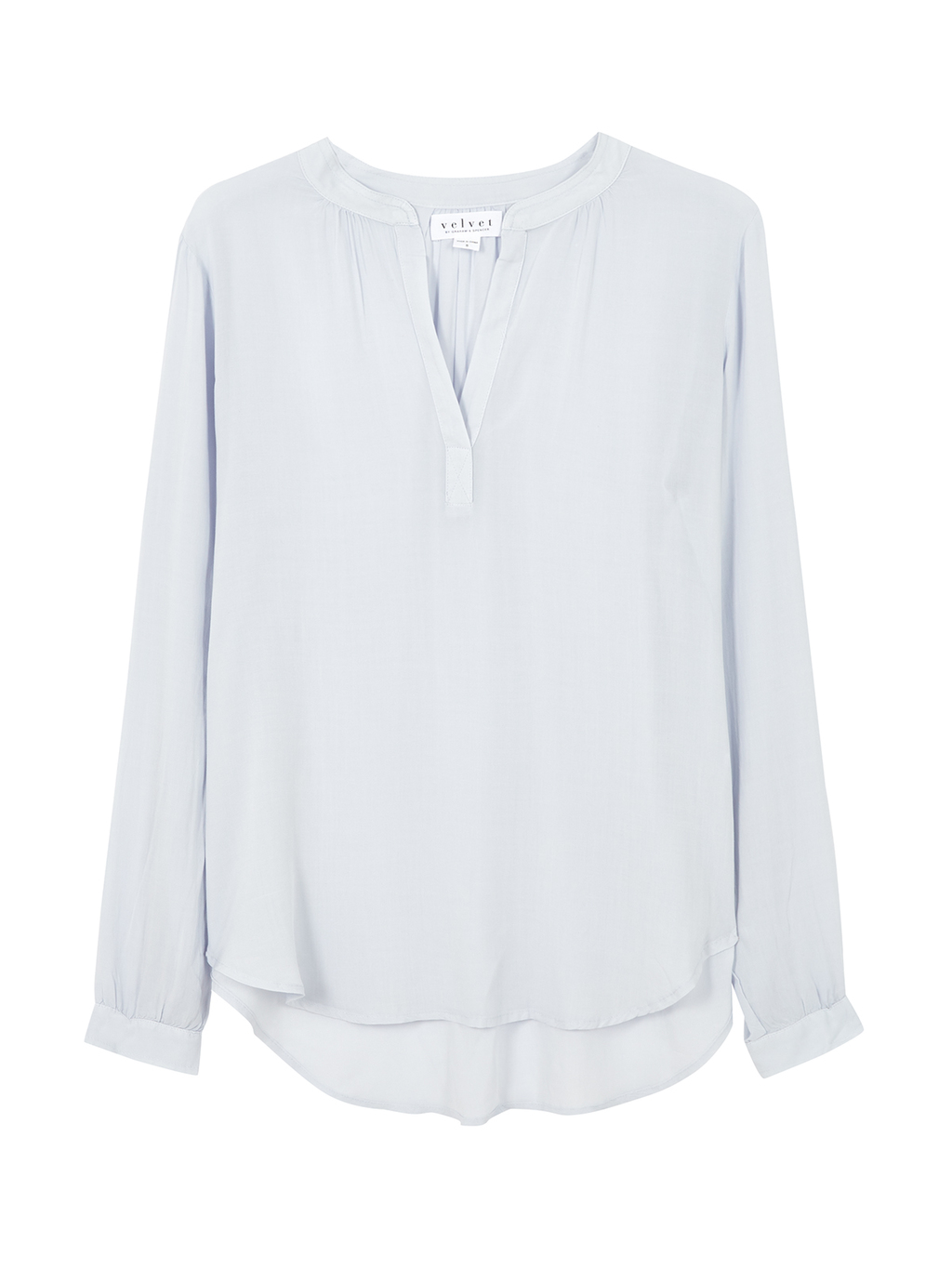 Rosie Long Sleeve Blouse - neckline: v-neck; pattern: plain; style: blouse; predominant colour: white; occasions: casual, creative work; length: standard; fibres: viscose/rayon - 100%; fit: body skimming; sleeve length: long sleeve; sleeve style: standard; texture group: sheer fabrics/chiffon/organza etc.; pattern type: fabric; season: s/s 2016; wardrobe: basic