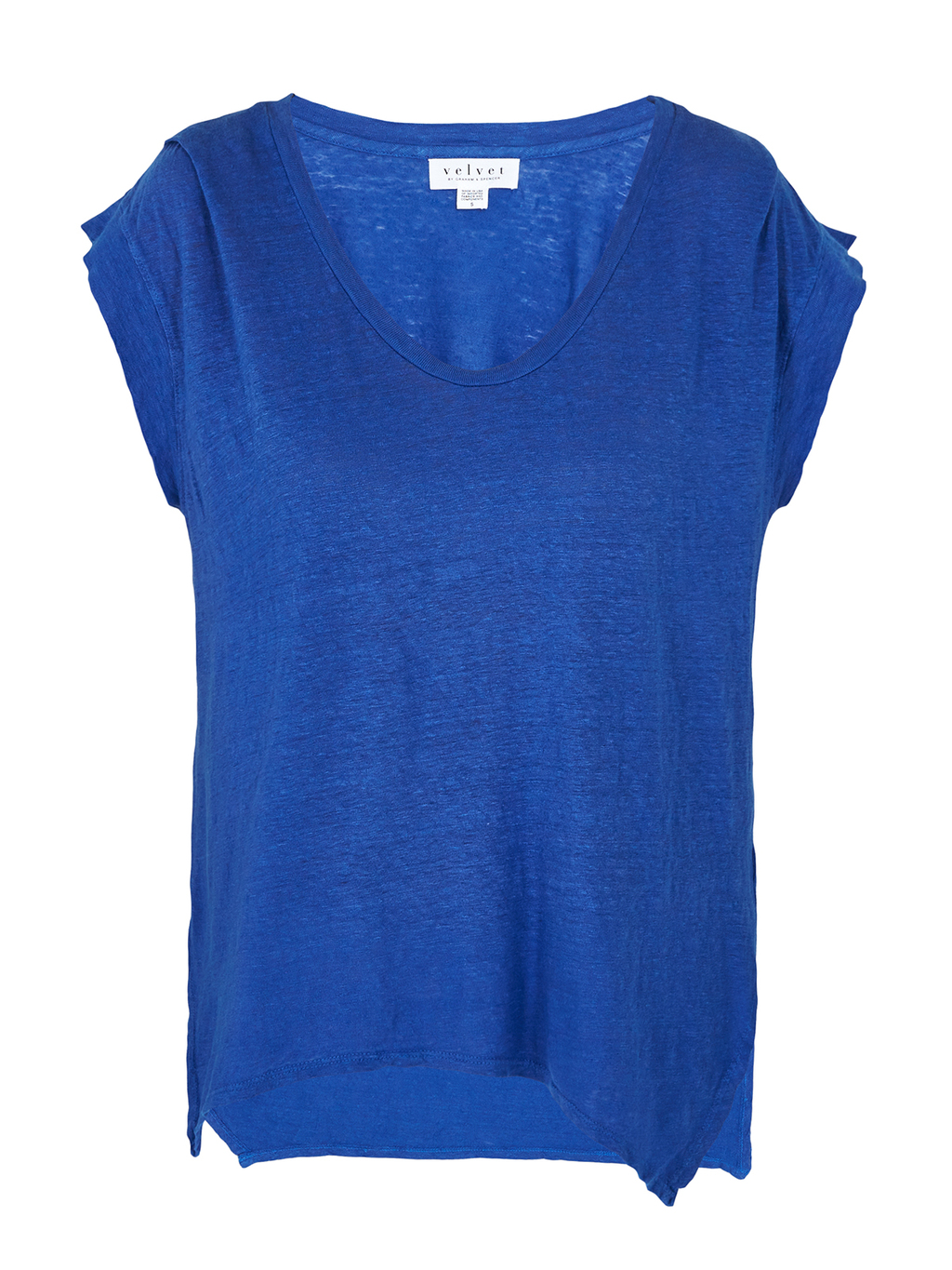 Rebekkah Cap Sleeve Top - neckline: v-neck; sleeve style: dolman/batwing; pattern: plain; predominant colour: royal blue; occasions: casual, creative work; length: standard; style: top; fibres: cotton - 100%; fit: body skimming; back detail: longer hem at back than at front; sleeve length: short sleeve; pattern type: fabric; texture group: jersey - stretchy/drapey; season: s/s 2016; wardrobe: highlight