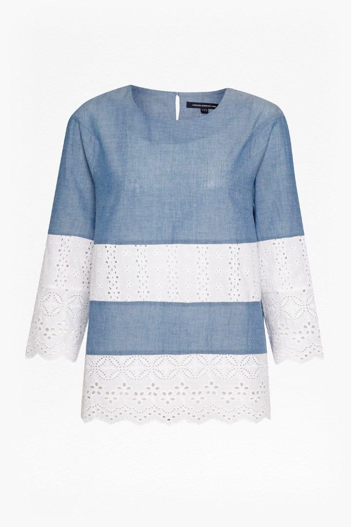 Kyra Cotton Embroidered Tunic Blue/Summer White - pattern: horizontal stripes; secondary colour: white; predominant colour: denim; occasions: casual; length: standard; style: top; fibres: cotton - 100%; fit: straight cut; neckline: crew; sleeve length: long sleeve; sleeve style: standard; texture group: cotton feel fabrics; pattern type: fabric; embellishment: embroidered; season: s/s 2016; wardrobe: highlight