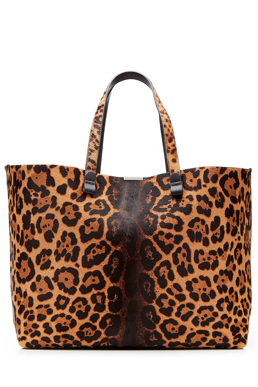 Simple Shopper Printed Calf Hair Tote Animal Prints - predominant colour: camel; secondary colour: black; occasions: casual, creative work; type of pattern: standard; style: tote; length: shoulder (tucks under arm); size: standard; pattern: animal print; finish: plain; material: pony skin; multicoloured: multicoloured; season: s/s 2016