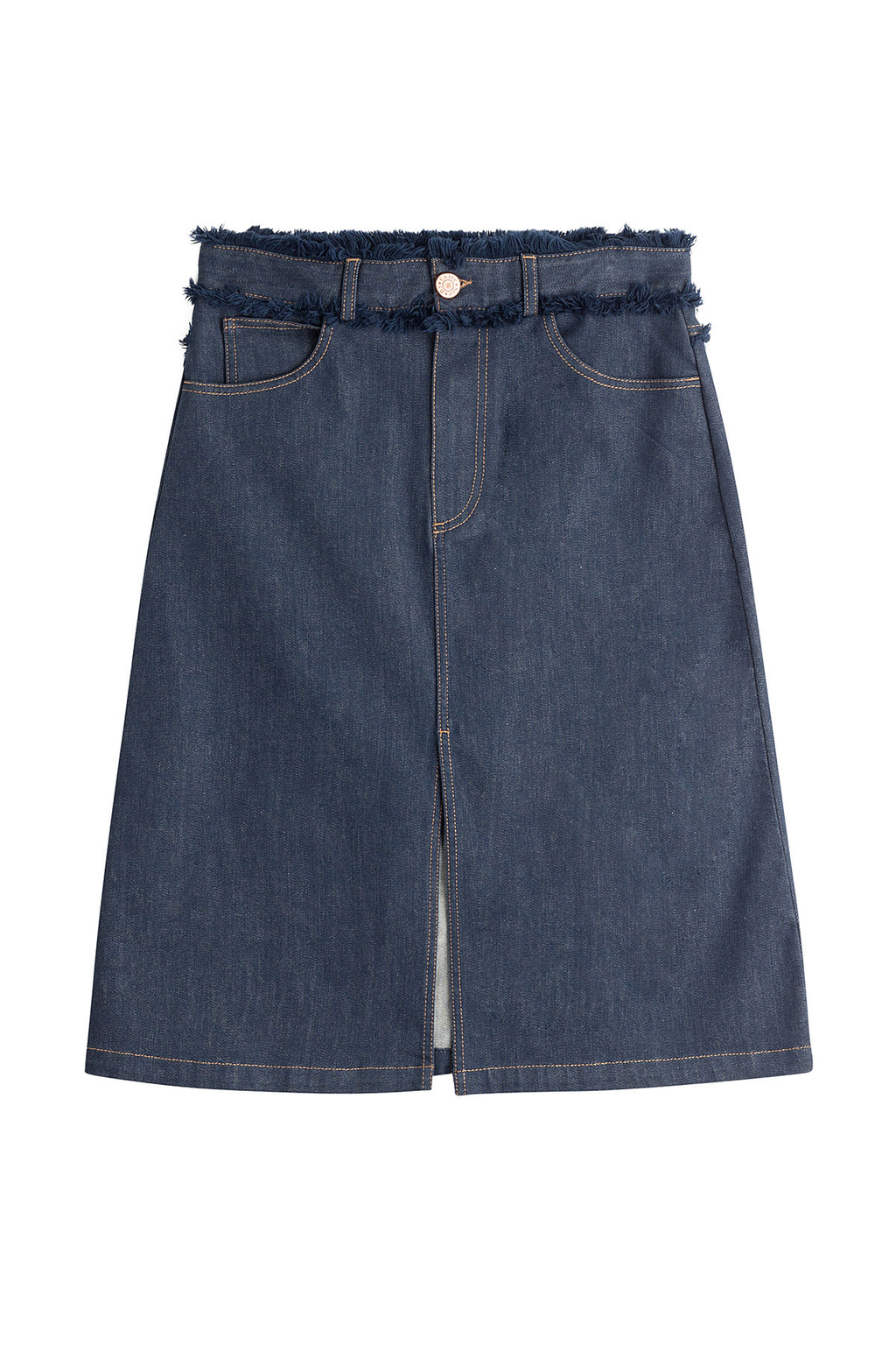Jean Skirt With Fringed Waistband Blue - pattern: plain; style: pencil; fit: body skimming; waist: high rise; predominant colour: navy; occasions: casual, creative work; length: just above the knee; fibres: cotton - 100%; texture group: denim; pattern type: fabric; season: s/s 2016