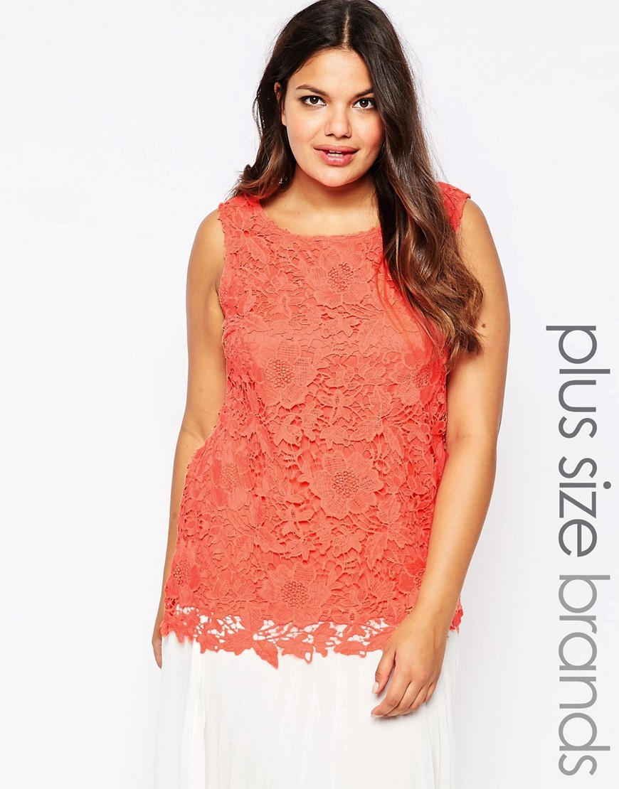 Plus Top In Crochet Lace Peach - neckline: round neck; sleeve style: sleeveless; predominant colour: coral; occasions: casual, creative work; length: standard; style: top; fibres: polyester/polyamide - 100%; fit: straight cut; sleeve length: sleeveless; texture group: lace; pattern type: fabric; pattern: patterned/print; season: s/s 2016; wardrobe: highlight