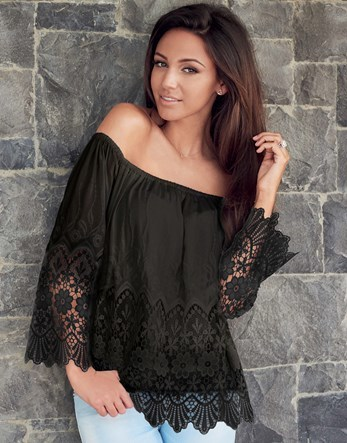 Love Michelle Keegan Lace Bardot Top - neckline: off the shoulder; pattern: plain; sleeve style: kimono; bust detail: subtle bust detail; predominant colour: black; occasions: casual, holiday; length: standard; style: top; fibres: viscose/rayon - 100%; fit: loose; sleeve length: long sleeve; pattern type: fabric; texture group: other - light to midweight; embellishment: lace; season: s/s 2016; wardrobe: highlight